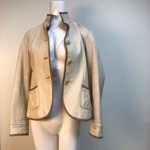 vintage Balmain buttery soft cream leather jacket